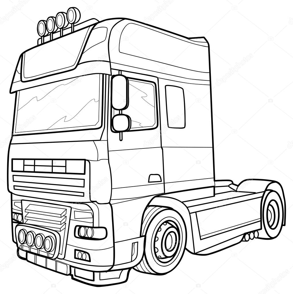 Line Art Truck : Sketch truck — stock vector