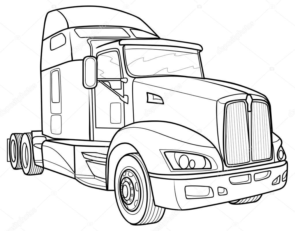 Line Drawing Truck : Sketch truck — stock vector kopirin
