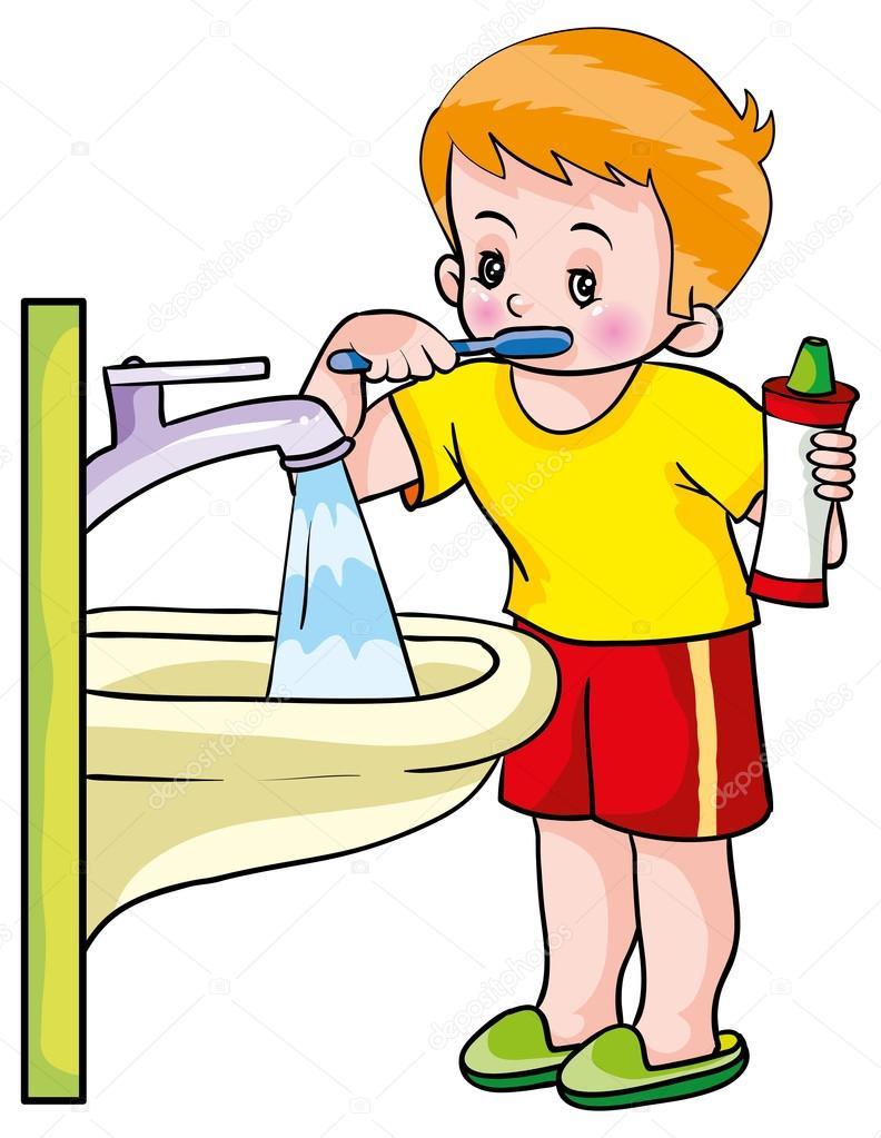 Lavado de dientes de niño — Vector de stock #58287827 ...