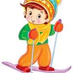 Cartoon boy skiing — Stock Vector #59021011