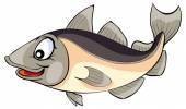 Cartoon happy Codfish — Stock Vector