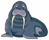 Cartoon Walrus illustration — Stock Vector