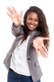 Beautiful young woman signaling ok — Stock Photo