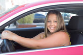 Large Woman in car — Stock Photo