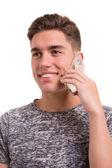 Ragazzo che usando il telefono cellulare — Foto Stock