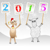 Goat and sheep with numbers 2015 — Stock Vector