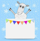 Merry sheep and greeting-card with a garland — Stock Vector
