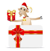 Merry goat with a gift and greeting-card — Stock Vector