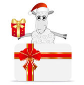 Merry sheep with a gift and greeting-card — Stock Vector