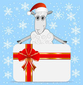 Merry sheep  and greeting-card — Stock Vector