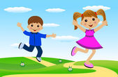 Merry girl and boy hurry on a path — Stock Vector