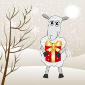 Merry sheep with a gift on a background winter landscape — Vetorial Stock