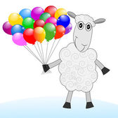 Merry sheep with air marbles  — Vetorial Stock