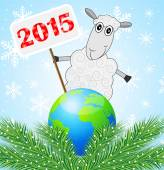 Sheep with a banner 2015 year and planet Earth — Stockvektor