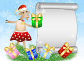 Christmas background with a goat, sheet of paper and gifts — Stockvektor