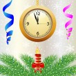 Festive postal with a clock, candle and green branches — Stock Vector #58178113