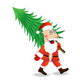 Santa claus carries a green christmas tree — Stock Vector