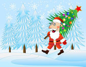 Santa claus carries the decorated christmas tree — Stock Vector
