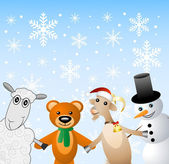Snow man with beasts on a festive background — Stock Vector