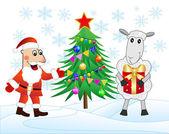 Santa claus, sheep and christmas tree — Stock Vector