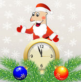 Santa claus, clock and green branches with toys — Vecteur