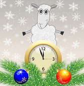 Sheep, clock and green branches with toys — 图库矢量图片