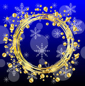 Christmas background with gold spangles and snowflakes — Stock Vector