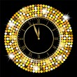 Clock on a black background with gold spangles — Stock Vector #59418987