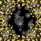 Black background with gold spangles and snowflakes — Stock Vector