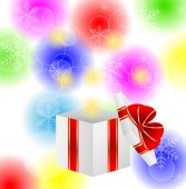 Box with a gift on a bright christmas background — Stock Vector