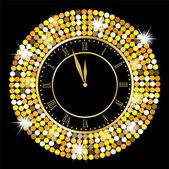 Clock on a black background with gold spangles — Stock Vector