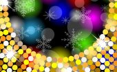 Christmas bright background with gold spangles and snowflakes — Stock Vector