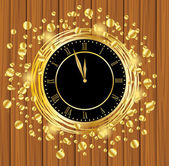 Clock on a wooden background with gold spangles — Stock Vector