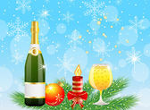 Festive postal with champagne and christmas decoration — Stock Vector