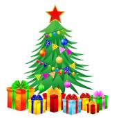 Christmas tree and gifts on a white background — Stock Vector