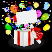 Gift with bright air marbles and lollipops — Vector de stock