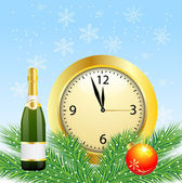 Christmas postal with the bottle of champagne and clock — Stock Vector