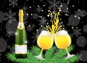Christmas postal with a bottle and glasses of champagne — Stock Vector
