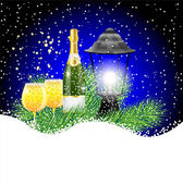 Lantern and champagne with the branches of fir-tree on to snow — Stock Vector