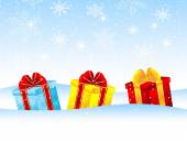 Bright boxes with gifts on to snow — Stock Vector