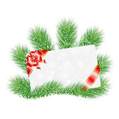 Greeting-card on the green branches of christmas tree — Vector de stock