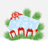 Greeting-card and gifts on the green branches of christmas tree — Stock Vector