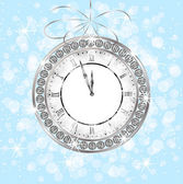 Clock with jewels on a festive background — Stock Vector