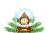 Festive ball with a clock as a house inwardly — Stockvektor