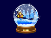 Festive ball with winter landscape inwardly — Stock Vector