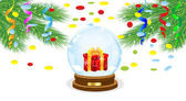 Festive ball with a gift inwardly and branches of tree — Stock Vector
