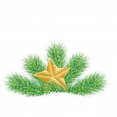 Festive star with the branches of fir-tree on to snow — Stock Vector