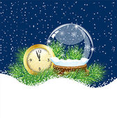 Glass ball and clock with the branches of fir-tree on to snow — Stock Vector