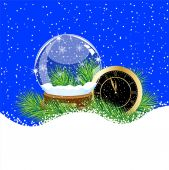 Glass ball and clock with the branches of fir-tree on to snow — Stockvektor