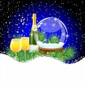Glass ball and champagne with the branches of fir-tree on to sno — Wektor stockowy
